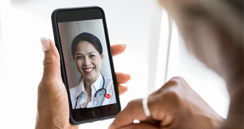 An Optima Health member attending a virtual doctor visit.