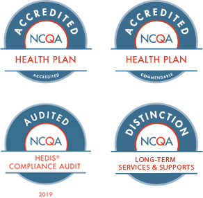 NCQA Badges for Accredited Health Plan, Commendable Health Plan, HEDIS Compliance, and Long-Term Services and Supports Distinction