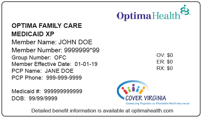 Optima Family Care card with Medicaid XP, Group Number and Cover Virginia logo highlighted.