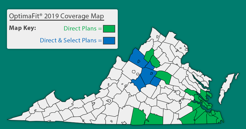 OptimaFit Direct and Select Coverage county map for Virginia