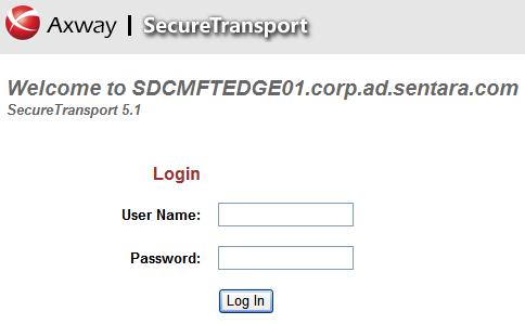 Screenshot of secured Axway portal with username and password fields