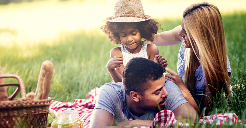 Family having a picnic in a field